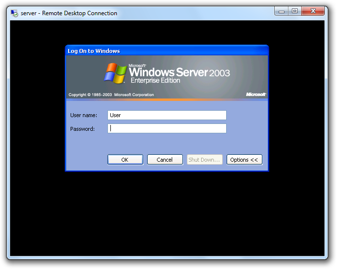 Windows 2003 Terminal Server Session