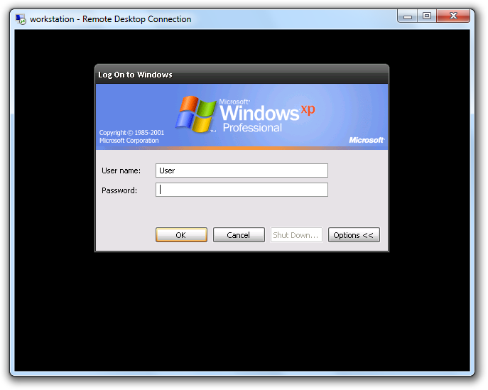 Windows XP Terminal Services Session